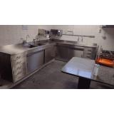 pia em aço inox com duas cubas para cozinha industrial em Jandira